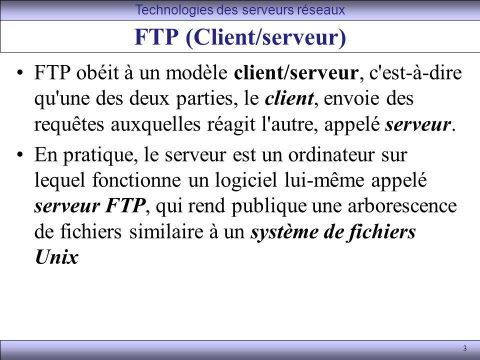 3 FTP (Client/serveur) FTP obéit à un modèle client/serveur, c est-à-dire qu une des deux parties, le client, envoie des requêtes auxquelles réagit l autre, appelé serveur.