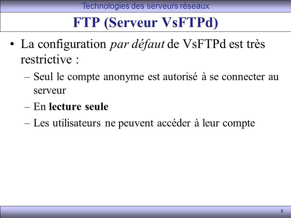 8 FTP (Serveur VsFTPd) La configuration par défaut de VsFTPd est très restrictive : –Seul le compte anonyme est autorisé à se connecter au serveur –En lecture seule –Les utilisateurs ne peuvent accéder à leur compte Technologies des serveurs réseaux