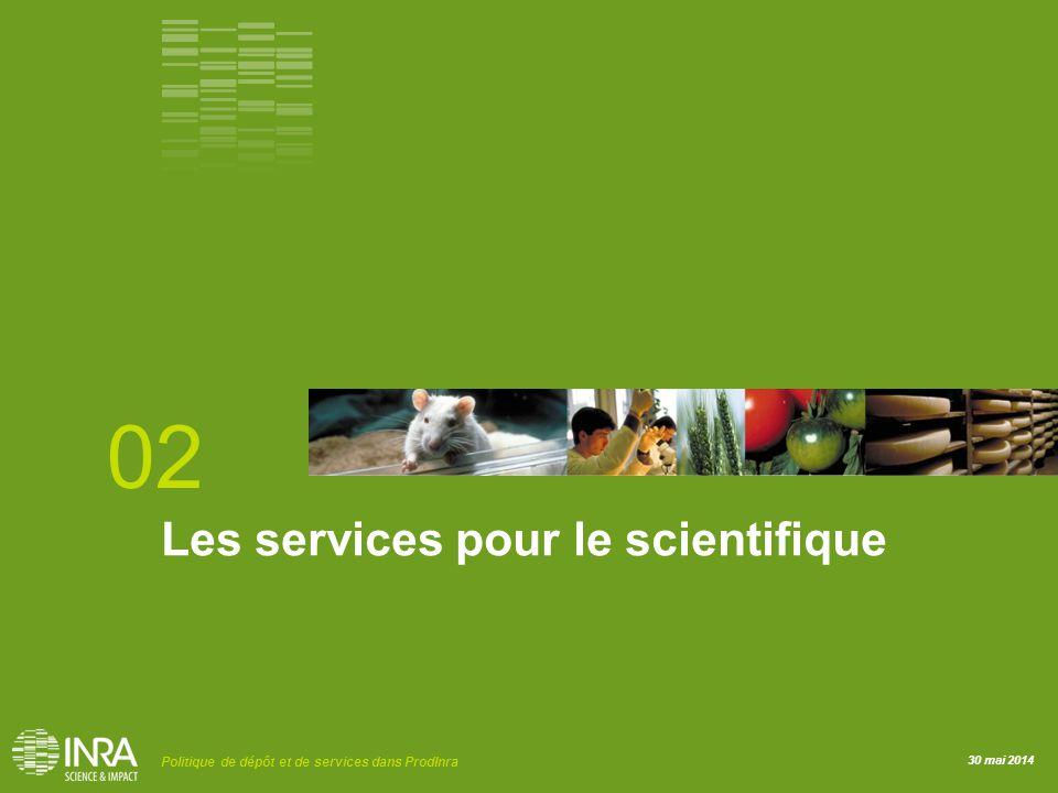 30 mai 2014 Politique de dépôt et de services dans ProdInra Les services pour le scientifique 02
