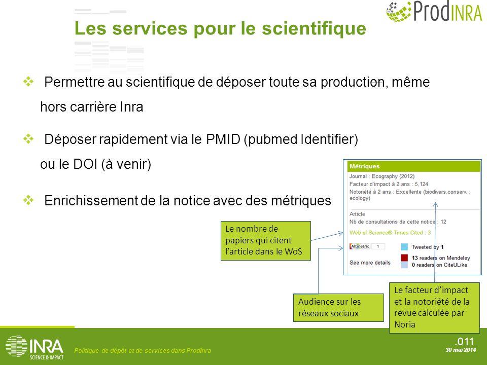 .011 Politique de dépôt et de services dans ProdInra 30 mai 2014 Les services pour le scientifique  Permettre au scientifique de déposer toute sa pro