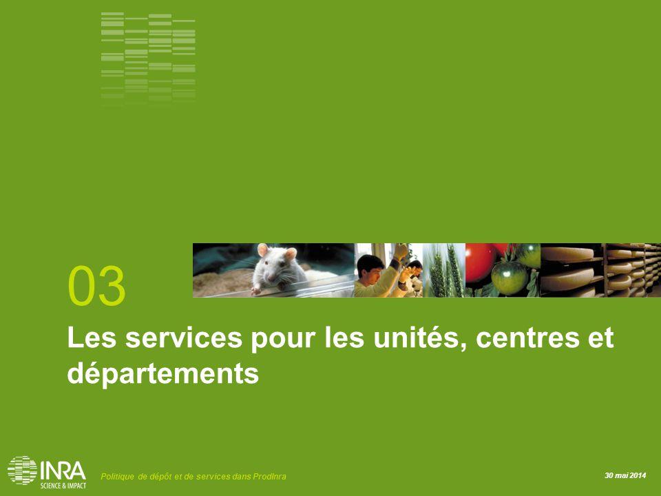 30 mai 2014 Politique de dépôt et de services dans ProdInra Les services pour les unités, centres et départements 03