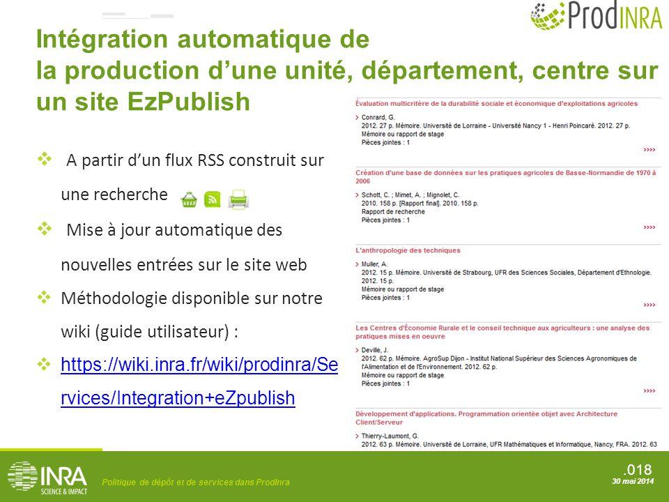 .018 Politique de dépôt et de services dans ProdInra 30 mai 2014 Intégration automatique de la production d'une unité, département, centre sur un site