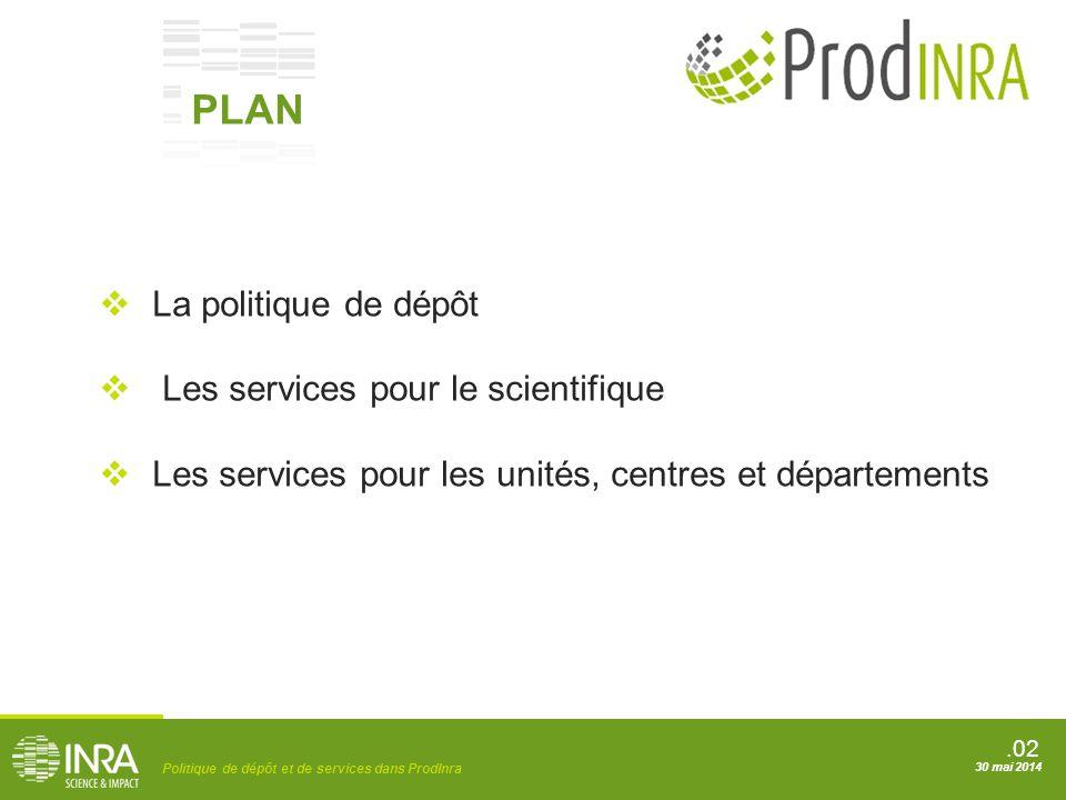 .02 Politique de dépôt et de services dans ProdInra 30 mai 2014  La politique de dépôt  Les services pour le scientifique  Les services pour les un