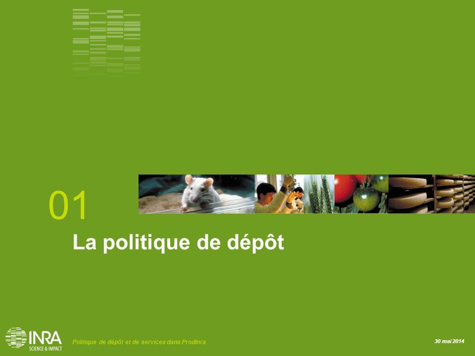 30 mai 2014 Politique de dépôt et de services dans ProdInra La politique de dépôt 01