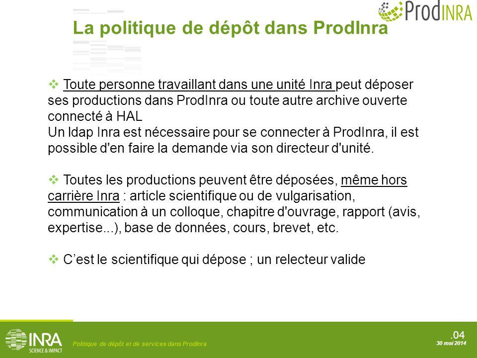 .04 Politique de dépôt et de services dans ProdInra 30 mai 2014  Toute personne travaillant dans une unité Inra peut déposer ses productions dans Pro
