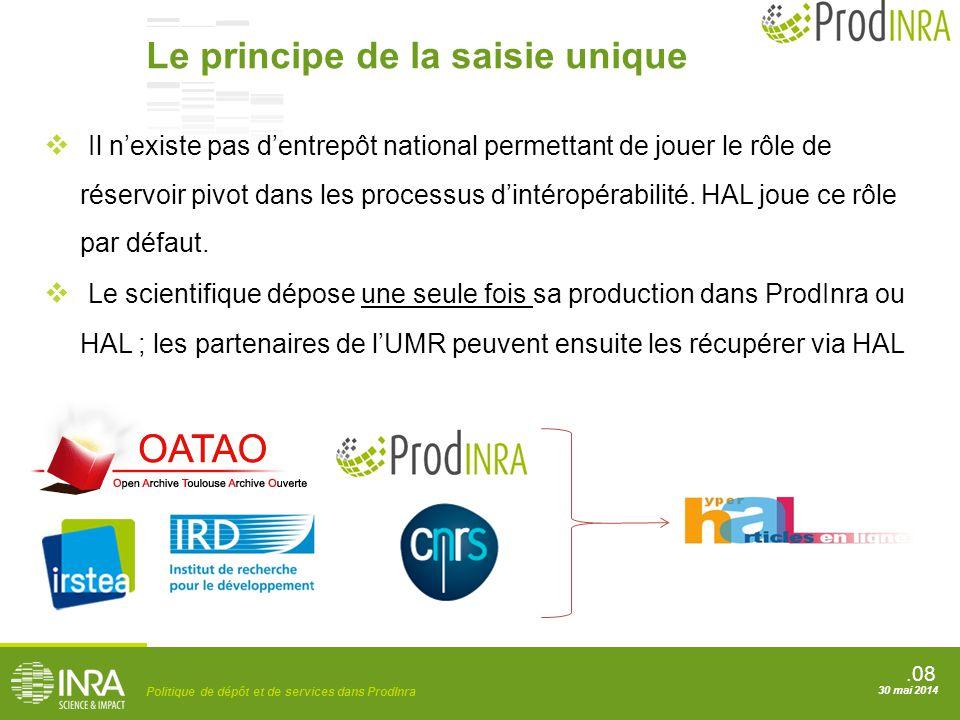 .08 Politique de dépôt et de services dans ProdInra 30 mai 2014 Le principe de la saisie unique  Il n'existe pas d'entrepôt national permettant de jo