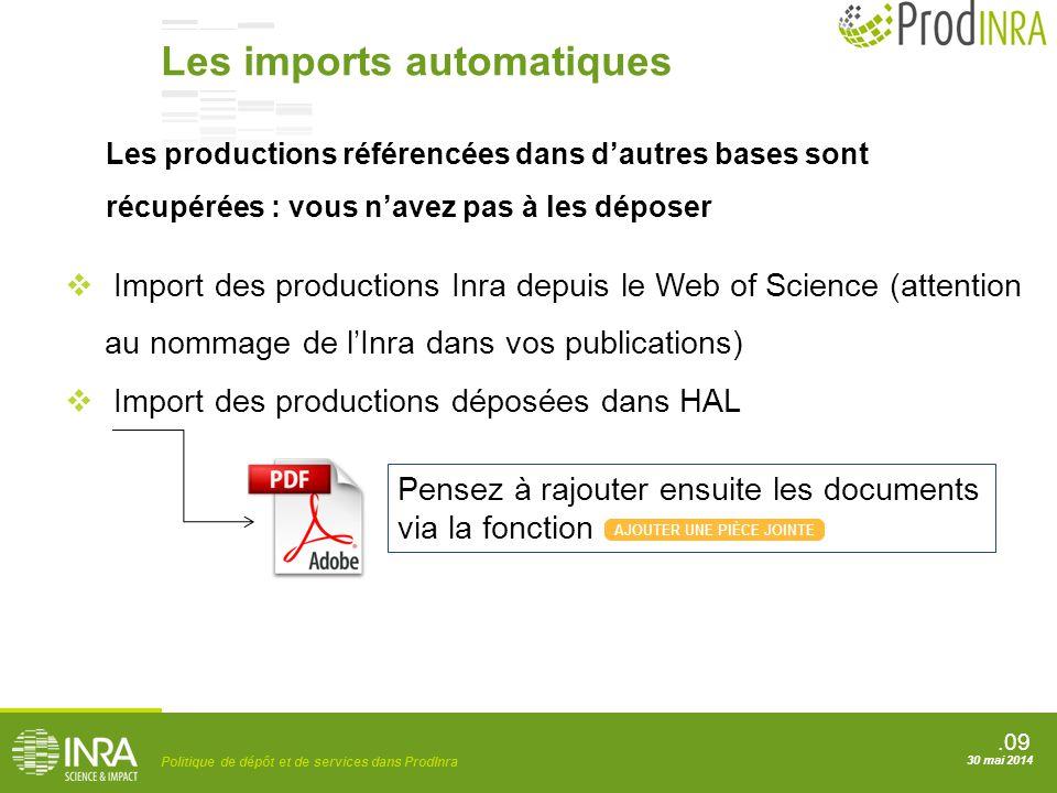 .09 Politique de dépôt et de services dans ProdInra 30 mai 2014  Import des productions Inra depuis le Web of Science (attention au nommage de l'Inra