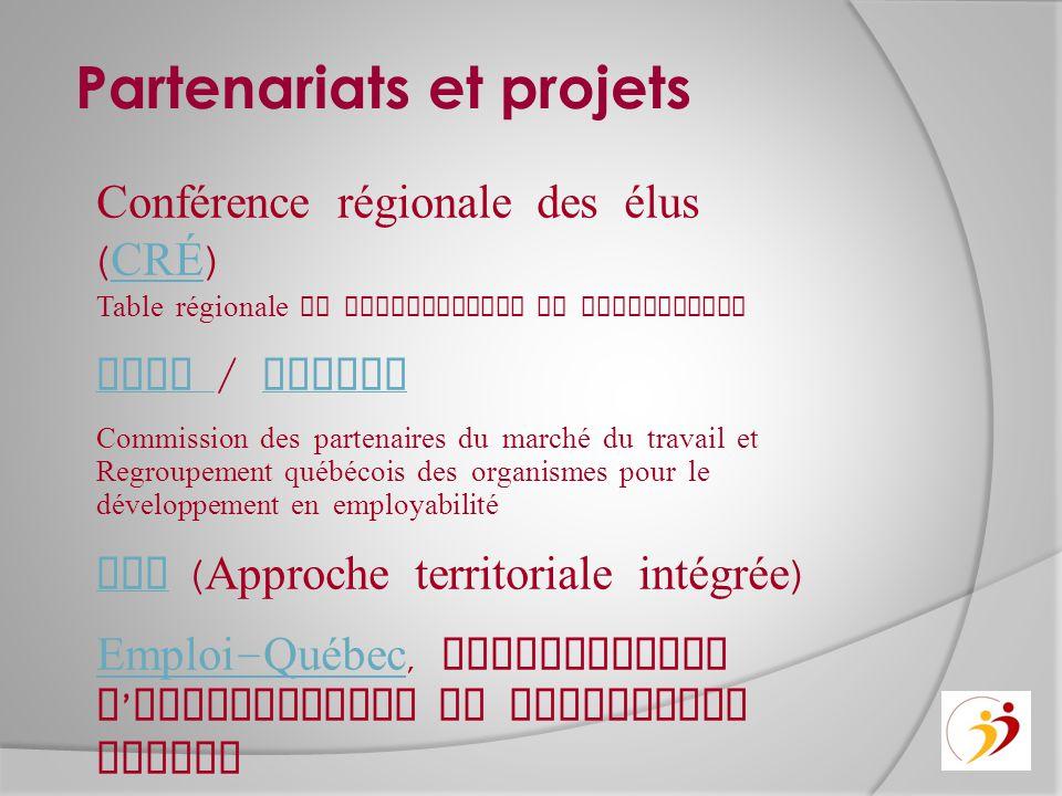 Partenariats et projets Conférence régionale des élus ( CRÉ ) CRÉ Table régionale de concertation en immigration CPMT CPMT / RQuODE RQuODE Commission