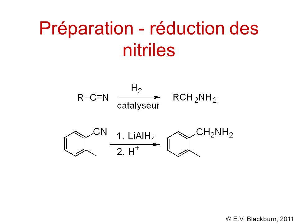 © E.V. Blackburn, 2011 Préparation - réduction des nitriles