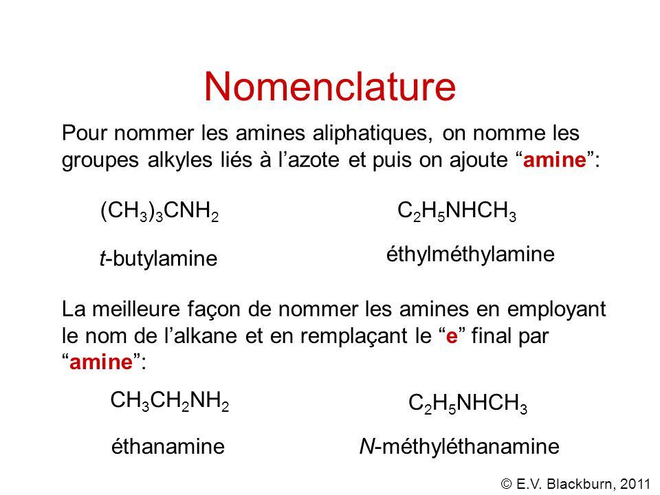 """© E.V. Blackburn, 2011 Nomenclature Pour nommer les amines aliphatiques, on nomme les groupes alkyles liés à l'azote et puis on ajoute """"amine"""": (CH 3"""