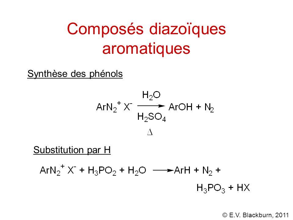 © E.V. Blackburn, 2011 Composés diazoïques aromatiques Synthèse des phénols Substitution par H