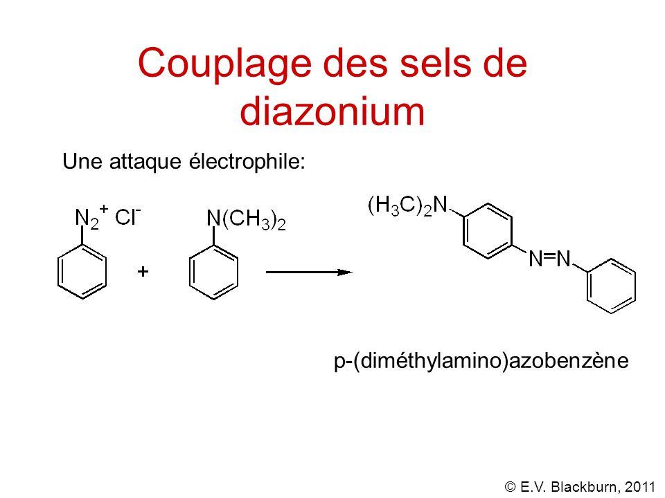 © E.V. Blackburn, 2011 Couplage des sels de diazonium Une attaque électrophile: p-(diméthylamino)azobenzène