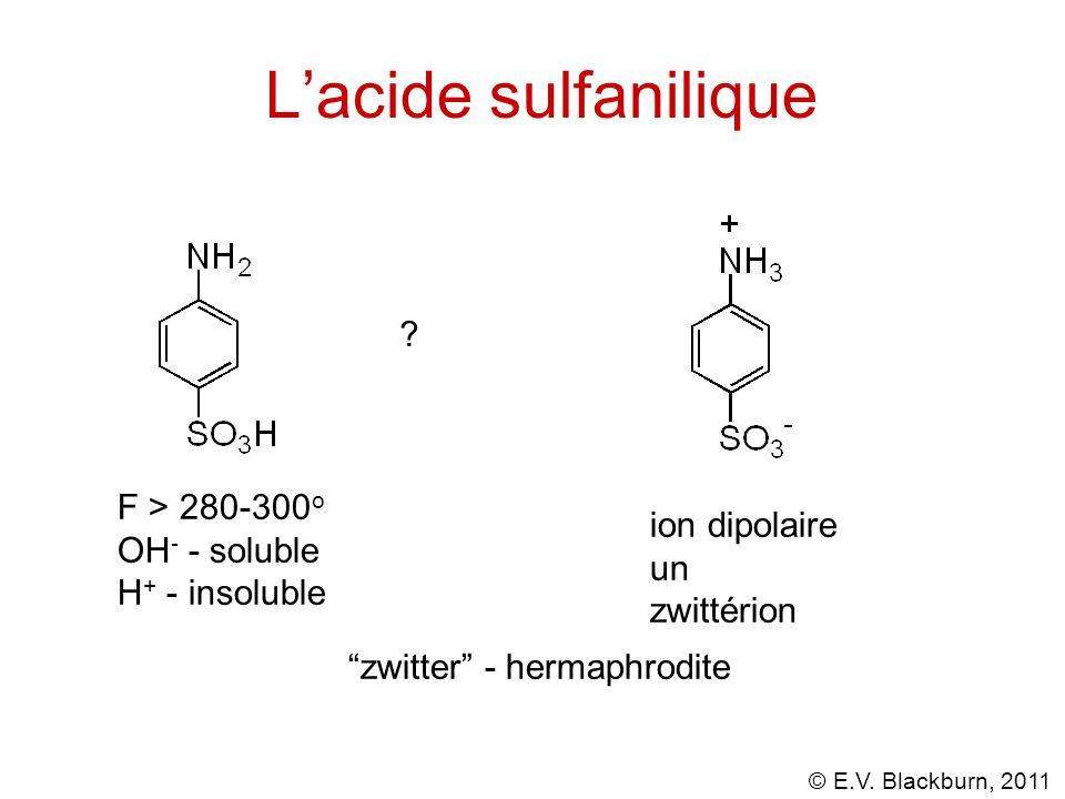 "© E.V. Blackburn, 2011 L'acide sulfanilique F > 280-300 o OH - - soluble H + - insoluble ? ion dipolaire un zwittérion ""zwitter"" - hermaphrodite"