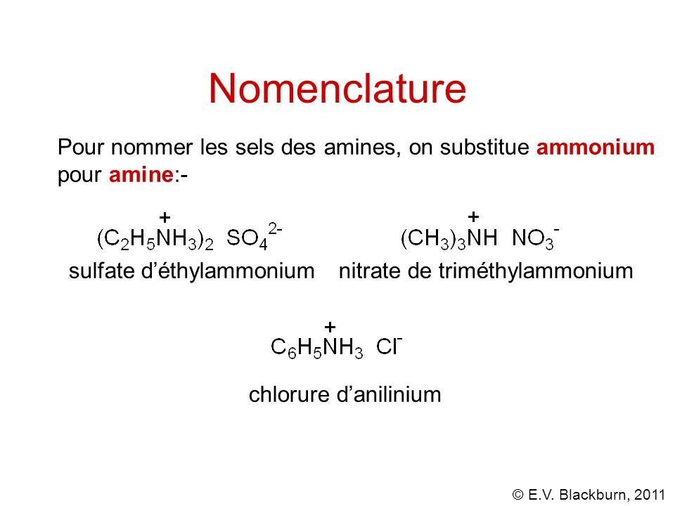 © E.V. Blackburn, 2011 Pour nommer les sels des amines, on substitue ammonium pour amine:- sulfate d'éthylammoniumnitrate de triméthylammonium chlorur