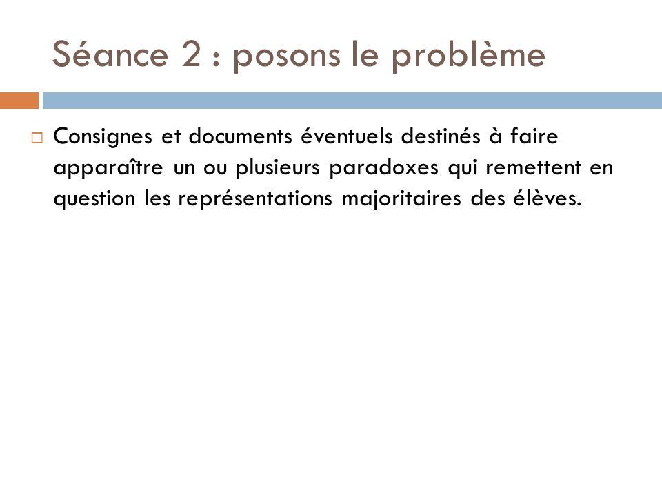 Posons un problème (suite)  Consignes destinées à déduire des paradoxes qui ont émergé un problème pour la classe ou des problèmes par sous groupes.