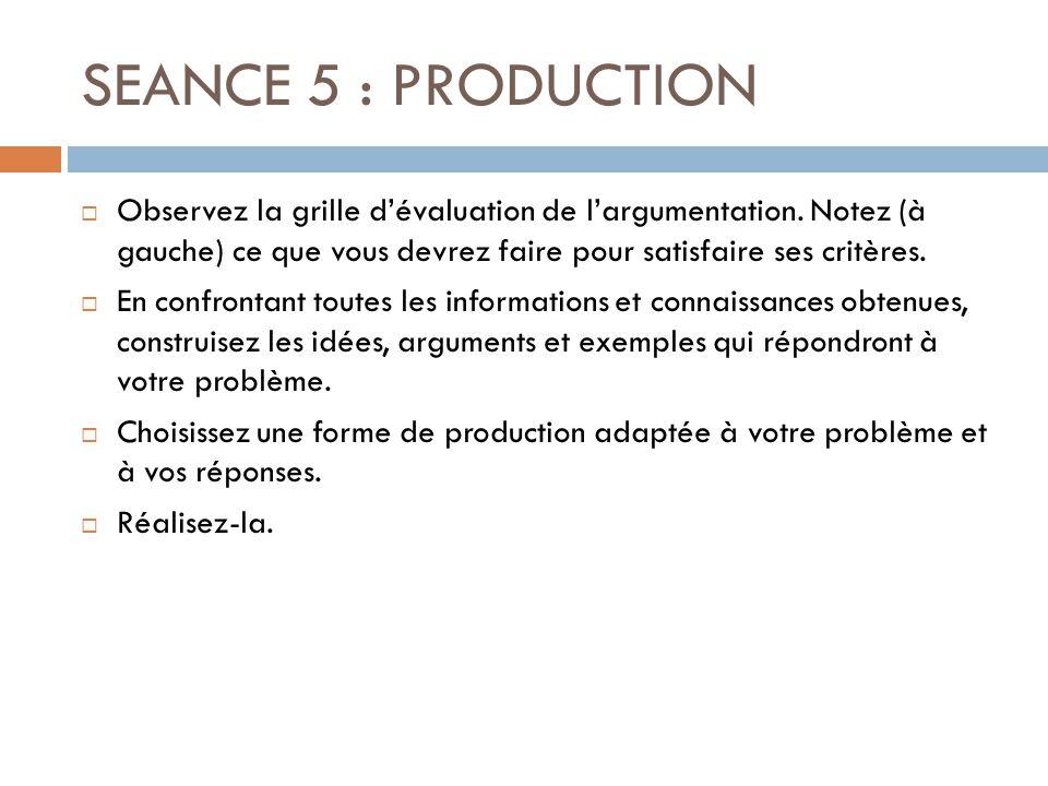 SEANCE 6 : EVALUATION  Reprenez vos carnets de bord et la production du groupe.