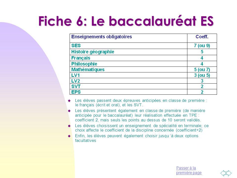 Passer à la première page Fiche 6: Le baccalauréat ES u Les élèves passent deux épreuves anticipées en classe de première : le français (écrit et oral