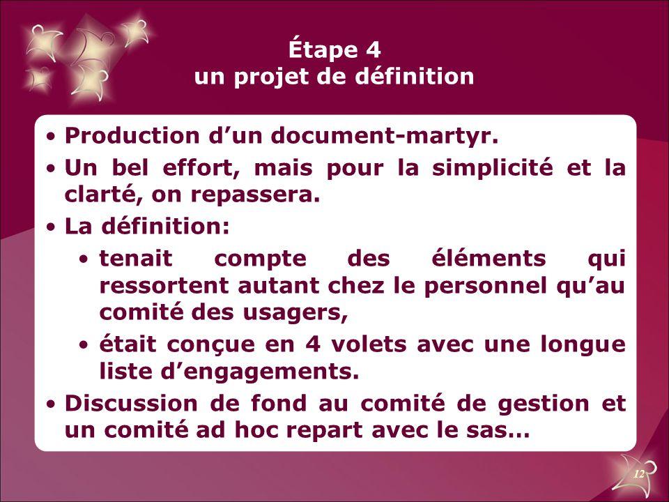 12 Étape 4 un projet de définition Production d'un document-martyr. Un bel effort, mais pour la simplicité et la clarté, on repassera. La définition: