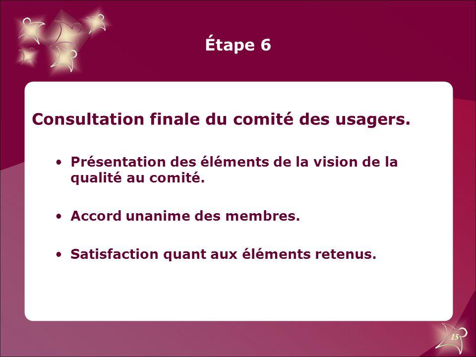 15 Étape 6 Consultation finale du comité des usagers. Présentation des éléments de la vision de la qualité au comité. Accord unanime des membres. Sati