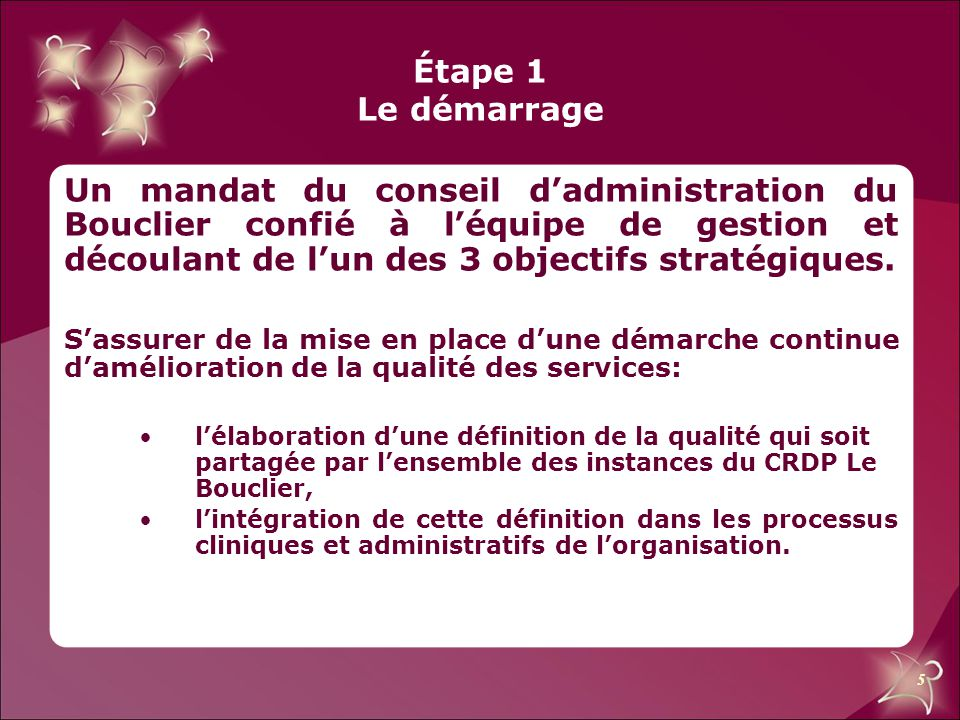 5 Étape 1 Le démarrage Un mandat du conseil d'administration du Bouclier confié à l'équipe de gestion et découlant de l'un des 3 objectifs stratégique