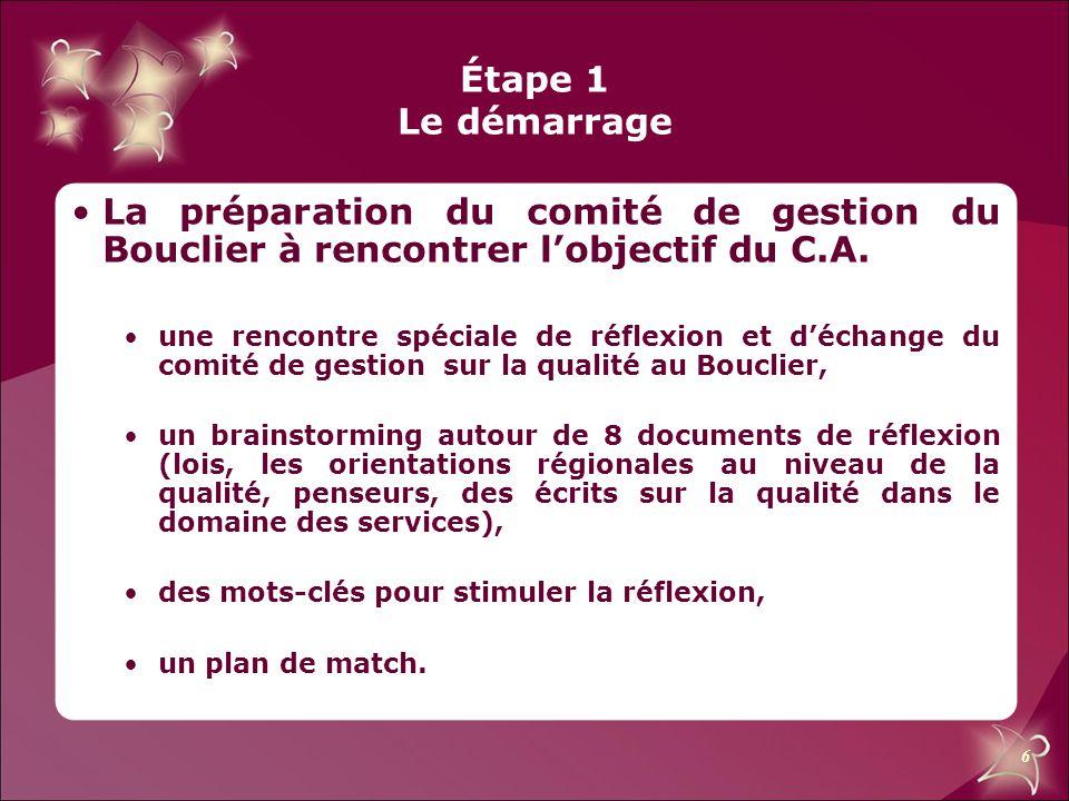 6 Étape 1 Le démarrage La préparation du comité de gestion du Bouclier à rencontrer l'objectif du C.A. une rencontre spéciale de réflexion et d'échang