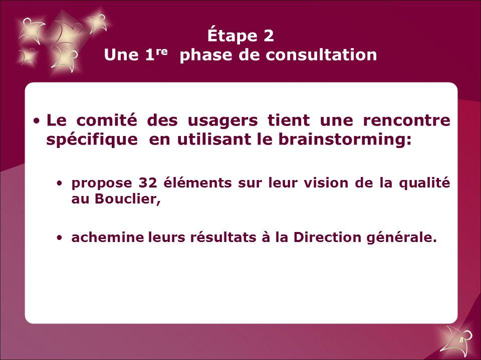 8 Étape 2 Une 1 re phase de consultation Le comité des usagers tient une rencontre spécifique en utilisant le brainstorming: propose 32 éléments sur l