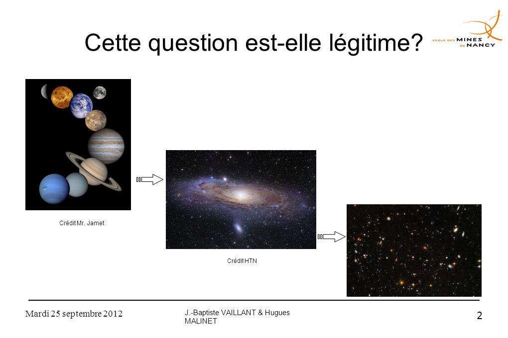 Mardi 25 septembre 2012 2 Cette question est-elle légitime? J.-Baptiste VAILLANT & Hugues MALINET Crédit Mr. Jamet Crédit HTN