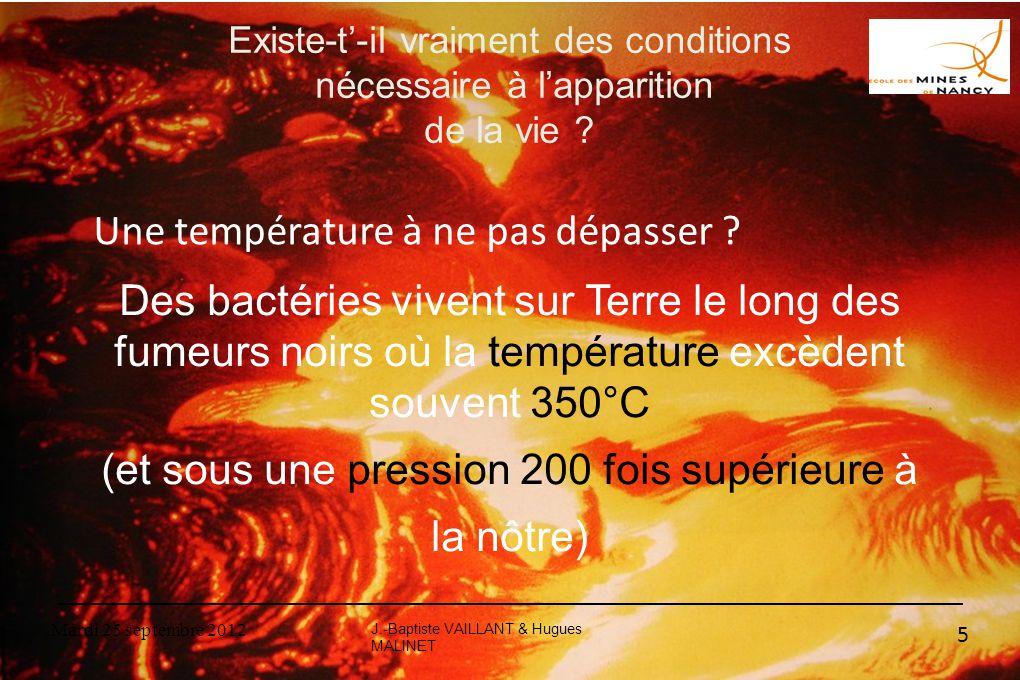 Mardi 25 septembre 2012 5 Existe-t'-il vraiment des conditions nécessaire à l'apparition de la vie ? Des bactéries vivent sur Terre le long des fumeur