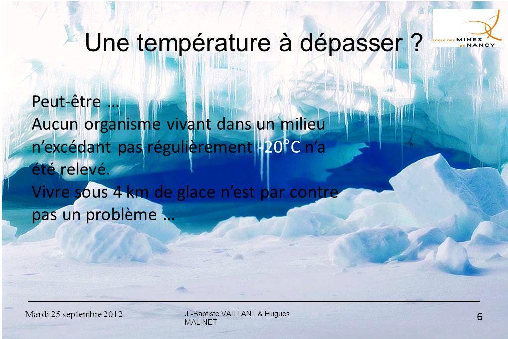Mardi 25 septembre 2012 6 Une température à dépasser ? J.-Baptiste VAILLANT & Hugues MALINET Peut-être … Aucun organisme vivant dans un milieu n'excéd