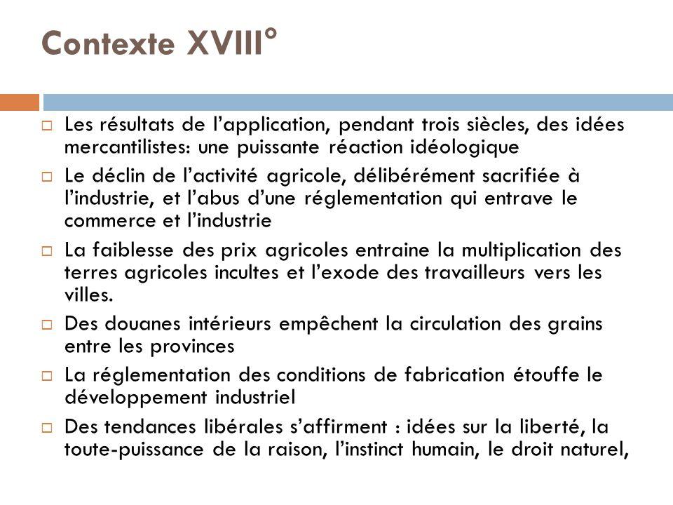 Contexte XVIII°  Les résultats de l'application, pendant trois siècles, des idées mercantilistes: une puissante réaction idéologique  Le déclin de l