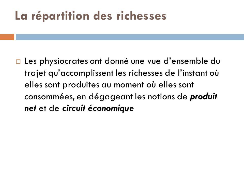 La répartition des richesses  Les physiocrates ont donné une vue d'ensemble du trajet qu'accomplissent les richesses de l'instant où elles sont produ