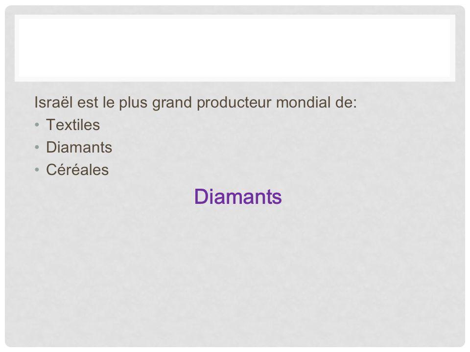 Israël est le plus grand producteur mondial de: Textiles Diamants Céréales Diamants