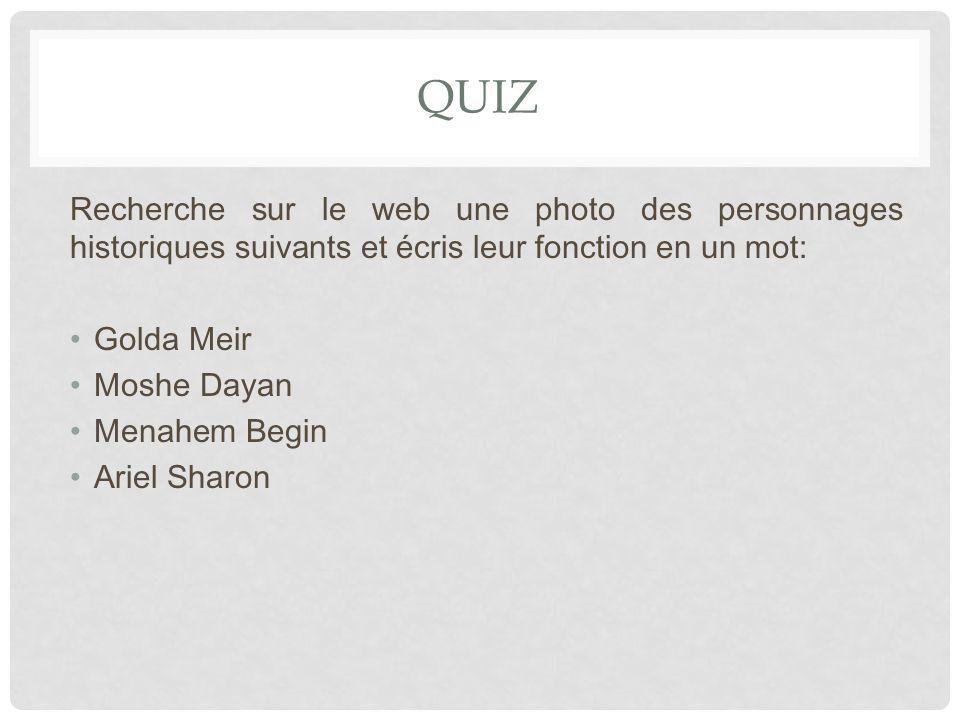 QUIZ Recherche sur le web une photo des personnages historiques suivants et écris leur fonction en un mot: Golda Meir Moshe Dayan Menahem Begin Ariel