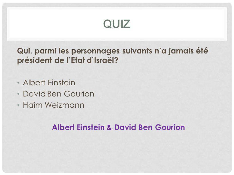QUIZ Qui, parmi les personnages suivants n'a jamais été président de l'Etat d'Israël? Albert Einstein David Ben Gourion Haim Weizmann Albert Einstein