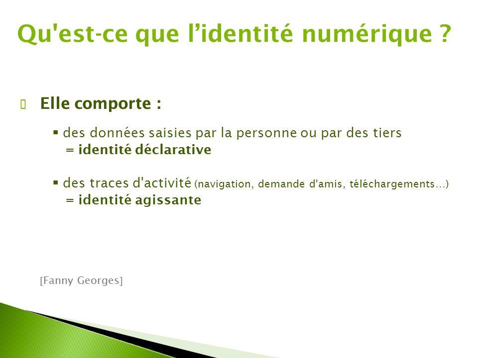 Qu'est-ce que l'identité numérique ? ✔ Elle comporte :  des données saisies par la personne ou par des tiers = identité déclarative  Fanny Georges 