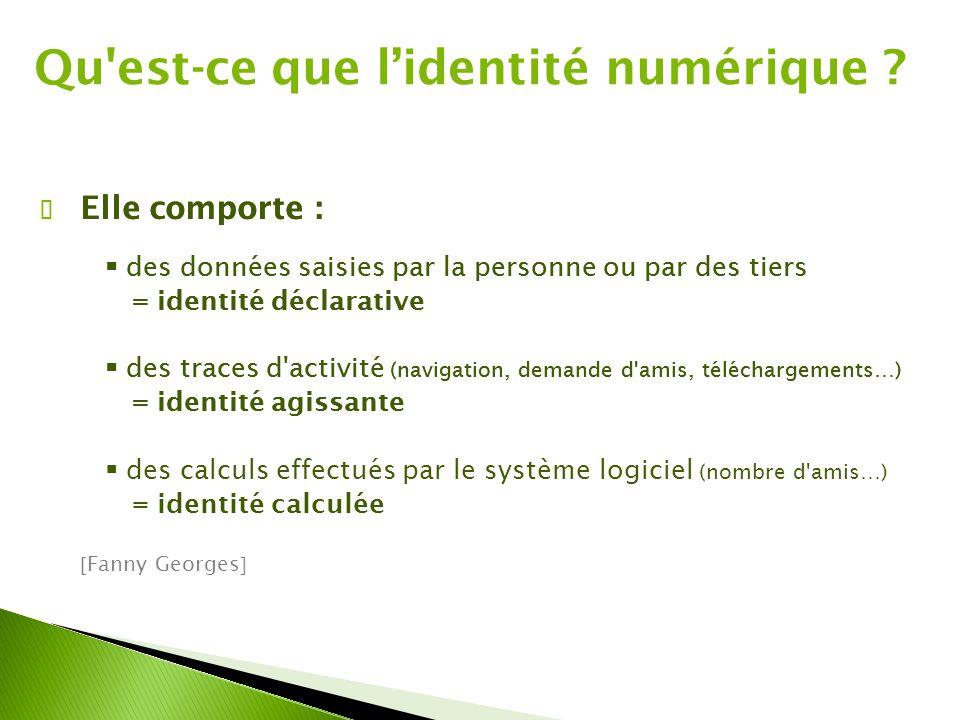 ✔ Elle comporte :  des données saisies par la personne ou par des tiers = identité déclarative  des traces d activité (navigation, demande d amis, téléchargements…) = identité agissante Qu est-ce que l'identité numérique .