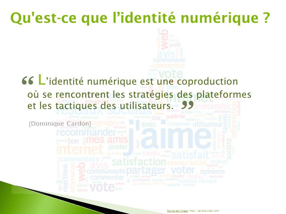 L 'identité numérique est une coproduction où se rencontrent les stratégies des plateformes et les tactiques des utilisateurs.  Dominique Cardon  Qu