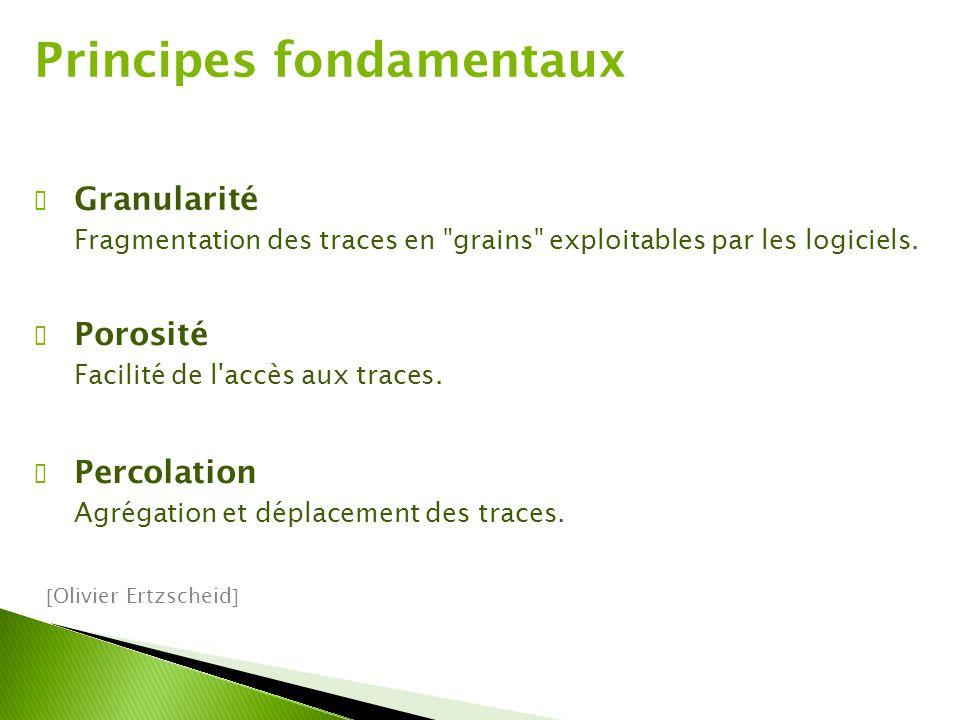 ✔ Granularité Fragmentation des traces en grains exploitables par les logiciels.