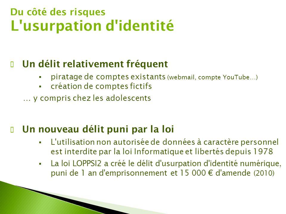 Du côté des risques L'usurpation d'identité ✔ Un délit relativement fréquent  piratage de comptes existants (webmail, compte YouTube…)  création de