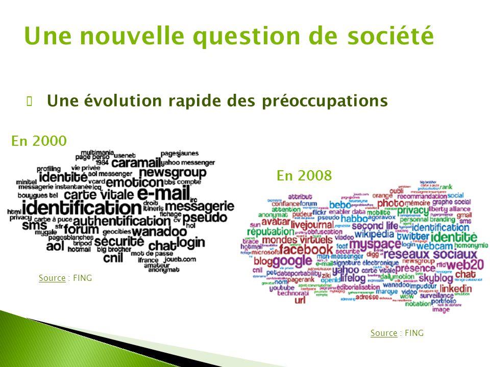 Une nouvelle question de société ✔ Une évolution rapide des préoccupations En 2000 En 2008 Source : FING