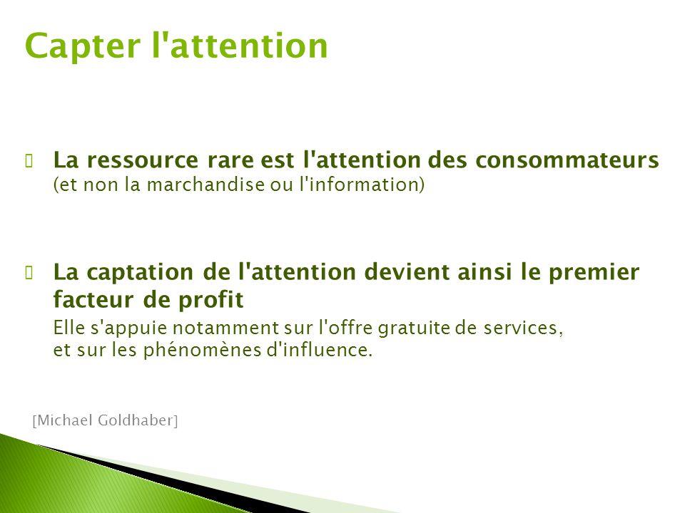 Capter l'attention ✔ La ressource rare est l'attention des consommateurs (et non la marchandise ou l'information) ✔ La captation de l'attention devien