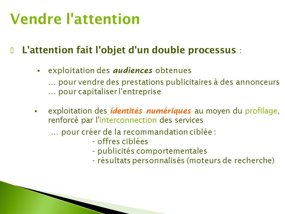 Vendre l'attention ✔ L'attention fait l'objet d'un double processus :  exploitation des audiences obtenues … pour vendre des prestations publicitaire