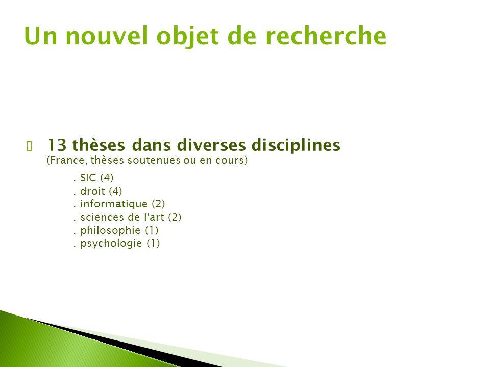✔ 13 thèses dans diverses disciplines (France, thèses soutenues ou en cours). SIC (4). droit (4). informatique (2). sciences de l'art (2). philosophie