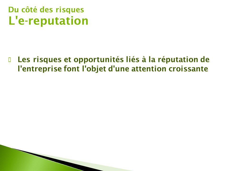 Du côté des risques L'e-reputation ✔ Les risques et opportunités liés à la réputation de l'entreprise font l'objet d'une attention croissante