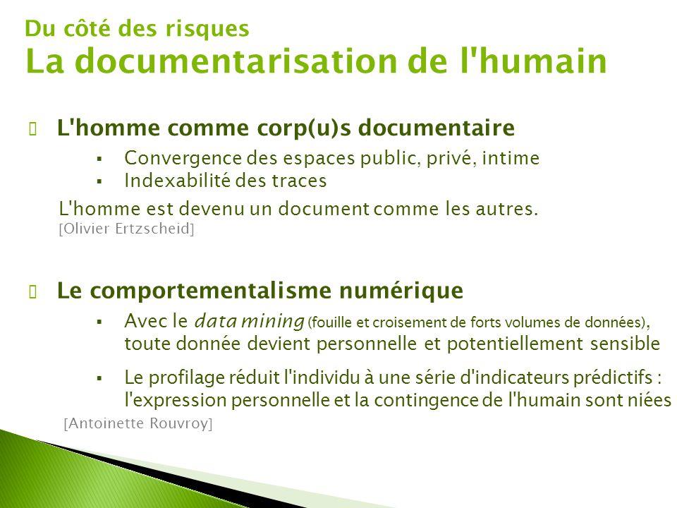 Du côté des risques La documentarisation de l'humain ✔ L'homme comme corp(u)s documentaire  Convergence des espaces public, privé, intime  Indexabil
