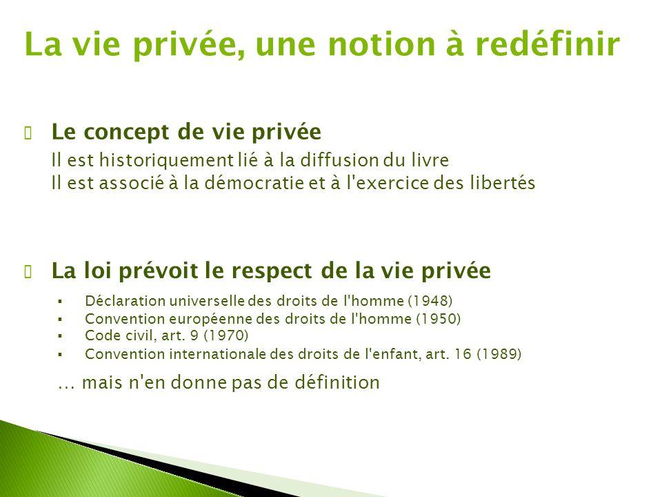 La vie privée, une notion à redéfinir ✔ La loi prévoit le respect de la vie privée  Déclaration universelle des droits de l homme (1948)  Convention européenne des droits de l homme (1950)  Code civil, art.