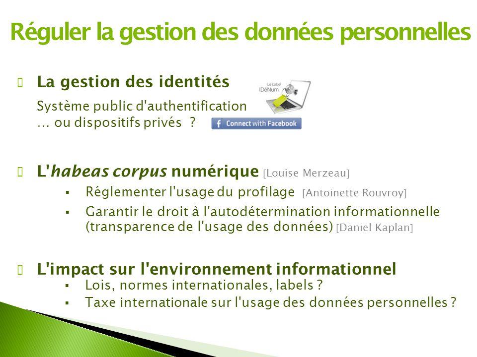 Réguler la gestion des données personnelles ✔ La gestion des identités Système public d authentification … ou dispositifs privés .