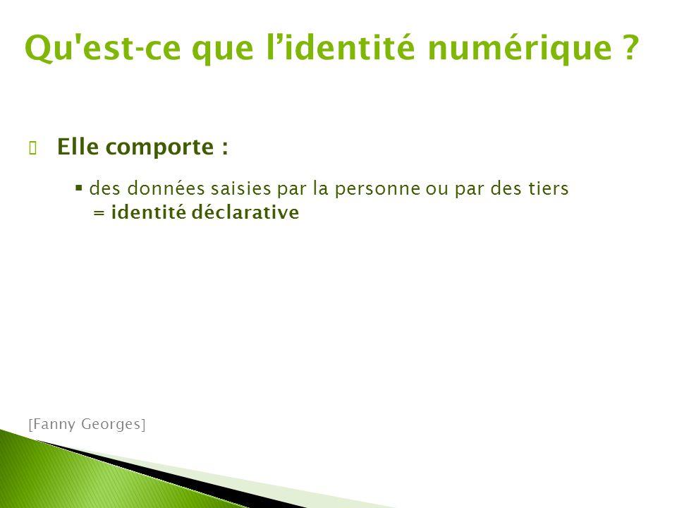 ✔ Elle comporte :  des données saisies par la personne ou par des tiers = identité déclarative  Fanny Georges  Qu est-ce que l'identité numérique ?