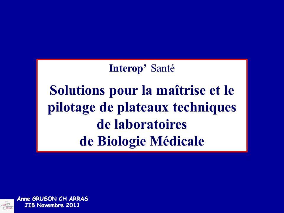 Anne GRUSON CH ARRAS JIB Novembre 2011 Interop' Santé Solutions pour la maîtrise et le pilotage de plateaux techniques de laboratoires de Biologie Méd