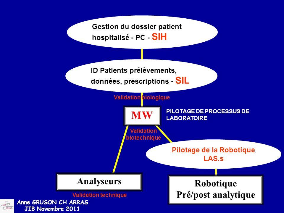 PILOTAGE DE PROCESSUS DE LABORATOIRE Validation biotechnique MW Gestion du dossier patient hospitalisé - PC - SIH Robotique Pré/post analytique Valida